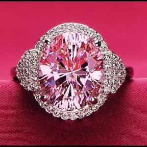 .925 Sterling Silver 6 Carat Pink Sapphire Ring